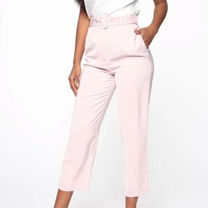 Irene Belted Crop Pants - Mauve New